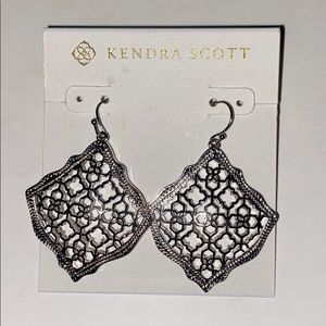 Kendra Scott SILVER Dangle Pattern Hook Earrings